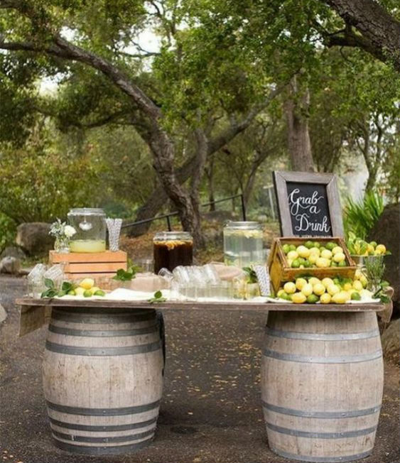 Barrel wedding drinks table