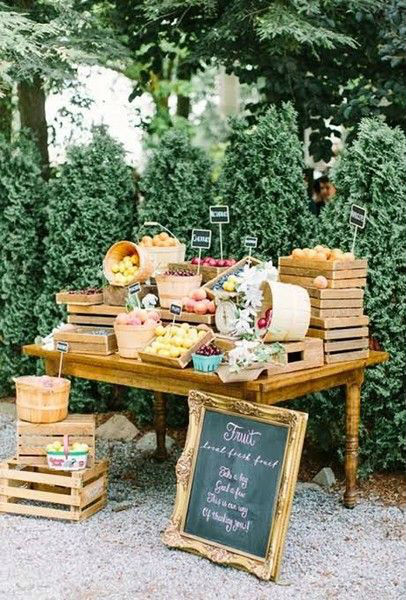 Fruit and rustic crate grazing table