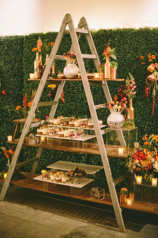 Rustic ladder dessert table