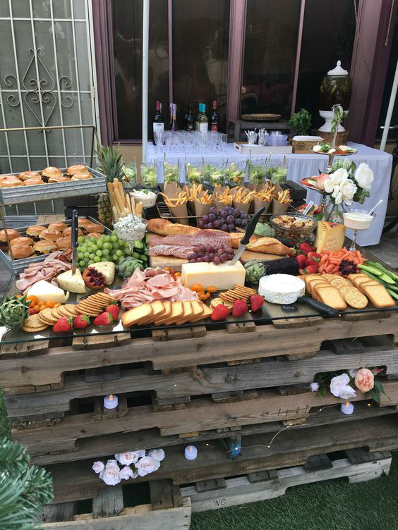 Rustic pallet grazing table
